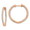 Lex & Lu 14k Rose Gold Polished Diamond In and Out Hinged Hoop Earrings LAL1843-Lex & Lu