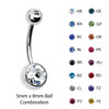 Lex & Lu Steel Curved Barbell Double Cz Gem Navel Belly Button Ring Body Piercing 14 Gauge-2-Lex & Lu