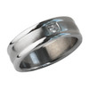 Lex & Lu Men's Stainless Steel Brushed Polished w/Cz 7mm Band Ring-Lex & Lu