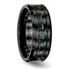 Lex & Lu Chisel Ceramic Black w/Green Carbon Fiber Beveled Edge Ring- 4 - Lex & Lu