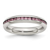 Lex & Lu Chisel Stainless Steel 4mm June Pink CZ Ring - Lex & Lu