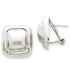 Lex & Lu 14k White Gold Polished Square Button Omega Back Post Earrings-Lex & Lu