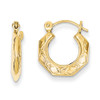 Lex & Lu 14k Yellow Gold Polished Patterned Hollow Hoop Earrings-Lex & Lu