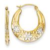 Lex & Lu 14k Yellow Gold & Rhodium Hollow Flowers Hoop Earrings-Lex & Lu