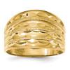 Lex & Lu 14k Yellow Gold Polished D/C Four Ridge Fashion Dome Ring-Lex & Lu