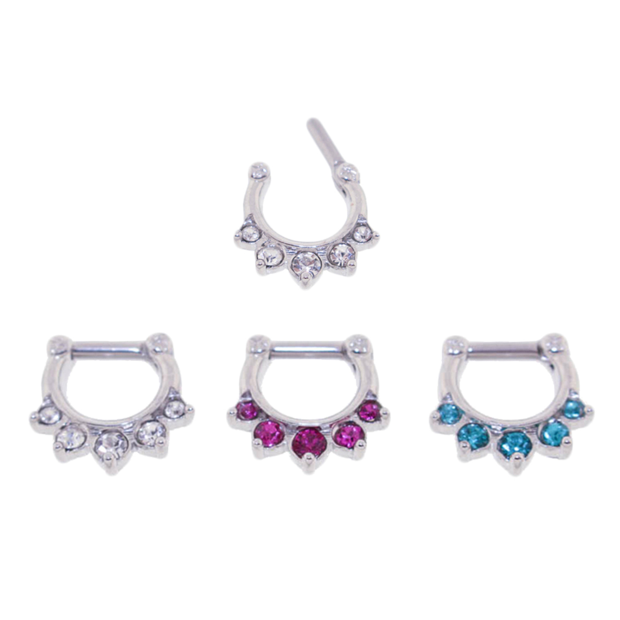 Lex Lu Set Of 3 Steel Cz Gem Septum Clicker Nose Ring Hoops 16 Or 14 Gauge Scg001 Lex Lu