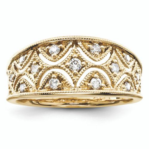 Lex & Lu 14k White Gold Yellow Gold Diamond Fashion Ring Band Ring-Lex & Lu