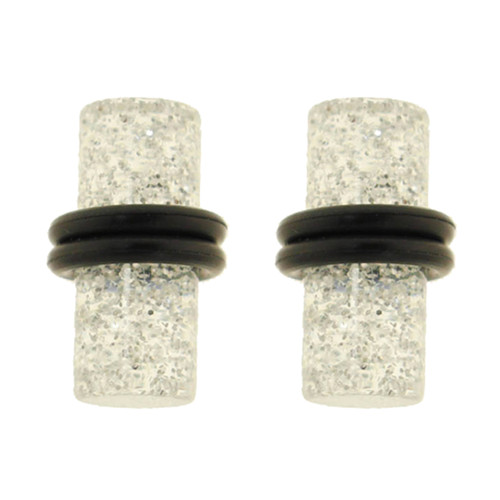 Lex & Lu Pair of Acrylic UV Sensitive Glitter Ear Plugs w/O-Rings 10G Thru 0 Gauge-Lex & Lu