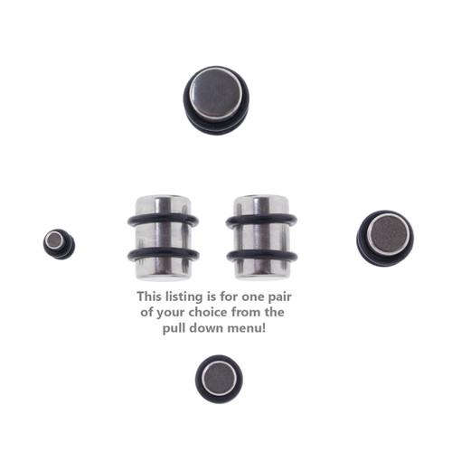 Lex & Lu Pair of Steel Ear Plugs Earlet Gauges w/Flat Ends 10G-00 Gauge-Lex & Lu