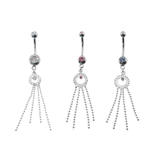 Lex & Lu Steel Gem Navel Belly Button Ring Body Piercing w/Dangle-CDD106-Lex & Lu