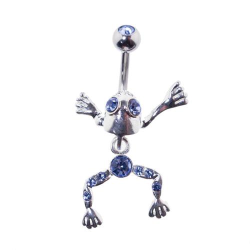 Lex & Lu Steel Gem Navel Belly Button Ring Body Piercing w/Frog-CGC160-BL-Lex & Lu