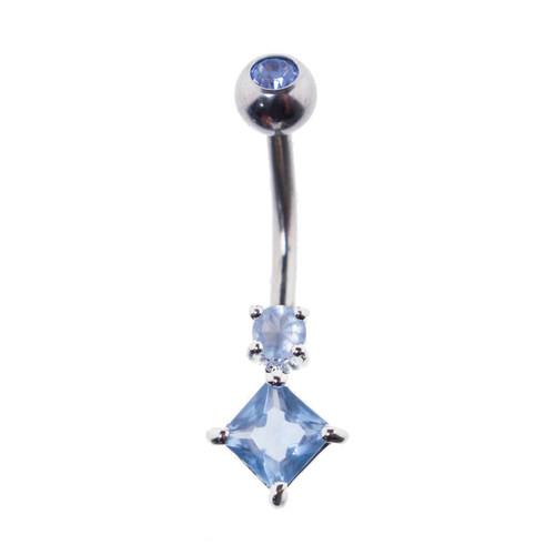 Lex & Lu Steel Gem Navel Belly Button Ring Body Piercing w/Cz Gems ETR-124-BL-Lex & Lu