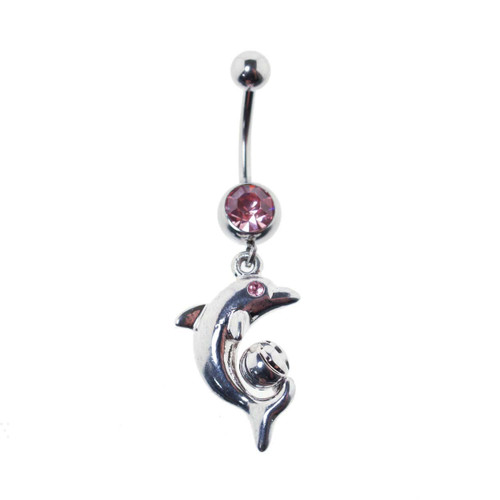 Lex & Lu Steel Gem Navel Belly Button Ring Body Piercing w/CZ Dangle-ETR145-PK-Lex & Lu