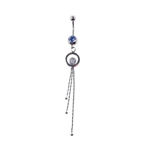 Lex & Lu Steel Gem Navel Belly Button Ring Body Piercing w/Dangle-ETR148-BL-Lex & Lu
