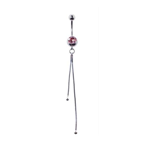 Lex & Lu Steel Gem Navel Belly Button Ring Body Piercing w/Dangle-ETR149-PK-Lex & Lu