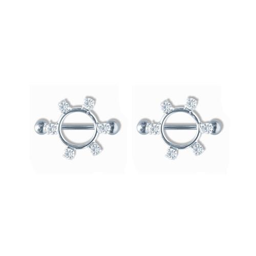 Lex & Lu Pair of Steel Barbell w/Nipple Shields Rings w/Gems, 14 Gauge-101-Lex & Lu