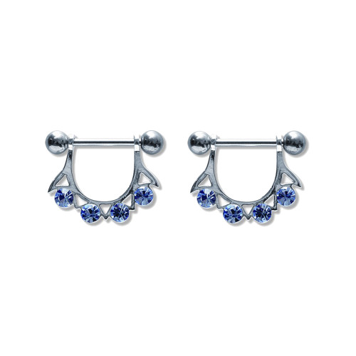 Lex & Lu Pair of Steel Barbell w/Nipple Shields Rings w/Gems, 14 Gauge-102-Lex & Lu