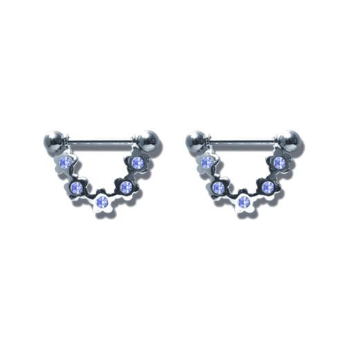 Lex & Lu Pair of Steel Barbell w/Nipple Shields Rings w/Gems, 14 Gauge-104-Lex & Lu