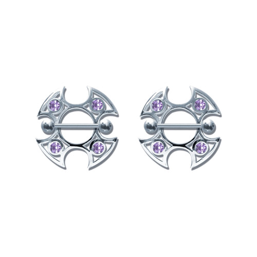 Lex & Lu Pair of Steel Barbell w/Nipple Shields Rings w/Gems, 14 Gauge-106-Lex & Lu