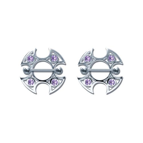 Lex & Lu Pair of Steel Barbell w/Nipple Shields Rings w/Gems, 14 Gauge-106-Lex & Lu