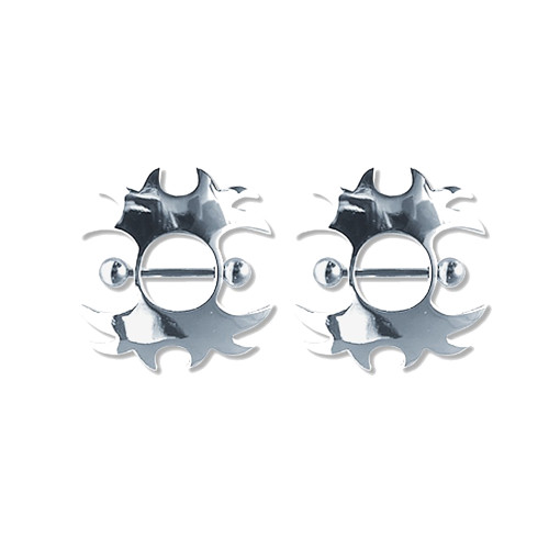 Lex & Lu Pair of Steel Barbell w/Nipple Shields Rings, 14 Gauge-101-Lex & Lu