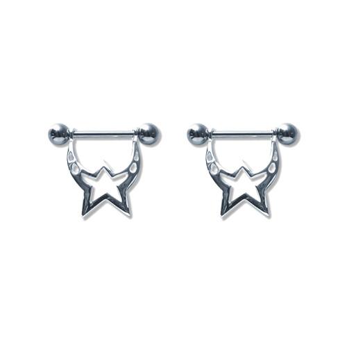 Lex & Lu Pair of Steel Barbell w/Nipple Shields Rings, 14 Gauge-102-Lex & Lu