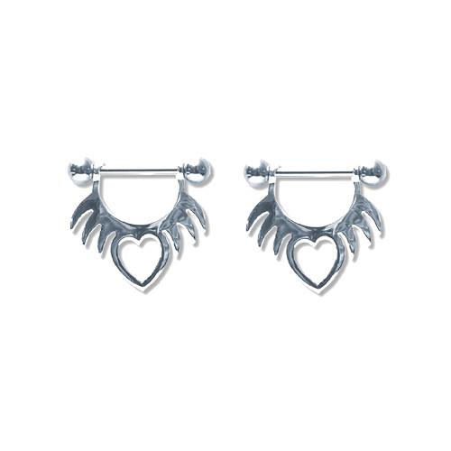 Lex & Lu Pair of Steel Barbell w/Nipple Shields Rings, 14 Gauge-103-Lex & Lu