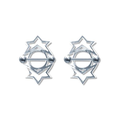 Lex & Lu Pair of Steel Barbell w/Nipple Shields Rings, 14 Gauge-104-Lex & Lu