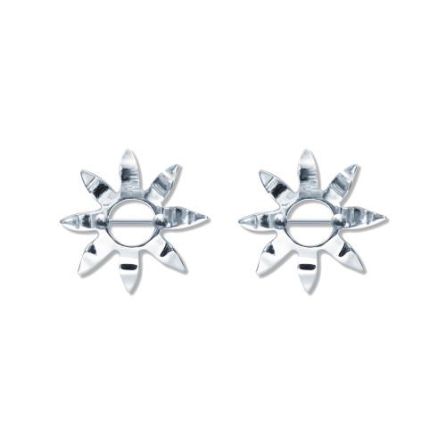 Lex & Lu Pair of Steel Barbell w/Nipple Shields Rings, 14 Gauge-108-Lex & Lu