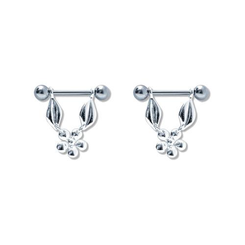 Lex & Lu Pair of Steel Barbell w/Nipple Shields Rings, 14 Gauge-111-Lex & Lu