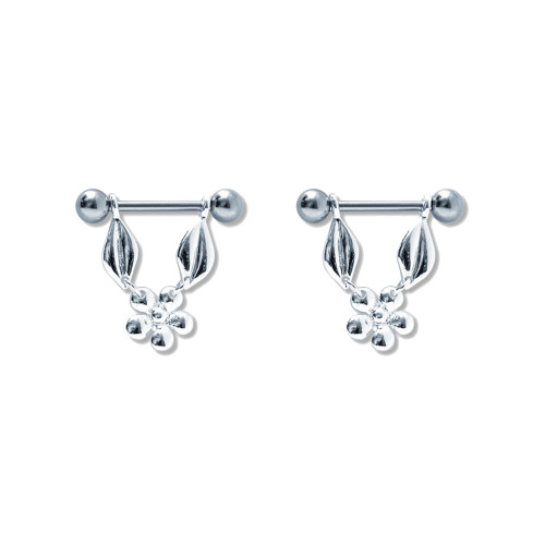 Lex & Lu Pair of Steel Barbell w/Nipple Shields Rings, 14 Gauge-111-Lex & Lu