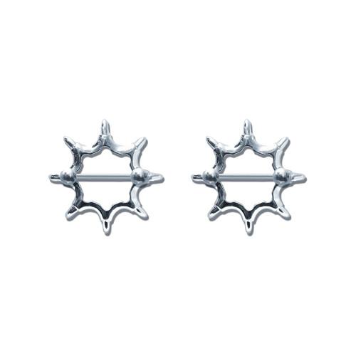 Lex & Lu Pair of Steel Barbell w/Nipple Shields Rings, 14 Gauge-112-Lex & Lu