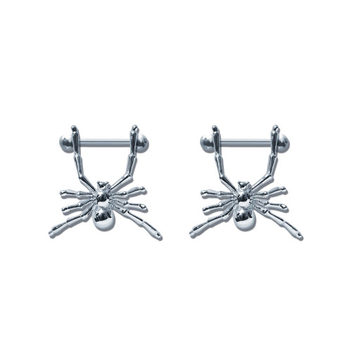 Lex & Lu Pair of Steel Barbell w/Nipple Shields Rings, 14 Gauge-114-Lex & Lu