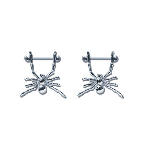 Lex & Lu Pair of Steel Barbell w/Nipple Shields Rings, 14 Gauge-114-Lex & Lu