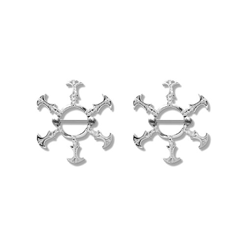 Lex & Lu Pair of Steel Barbell w/Nipple Shields Rings, 14 Gauge-116-Lex & Lu
