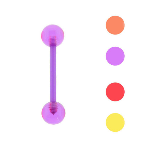 Lex & Lu All Acrylic Shaft Barbell Tongue Ring w/UV Sensitive Acrylic Balls 14G-Lex & Lu