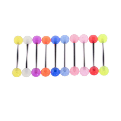 Lex & Lu Steel Tongue Ring Barbell w/Glow in the Dark Acrylic Balls 14 Gauge-Lex & Lu