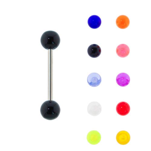 Lex & Lu Steel Tongue Ring Nipple Barbell w/Acrylic UV Sensitive Balls 14G-Lex & Lu