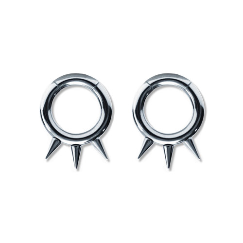 Lex & Lu Pair of Steel Seamless Segment Rings w/Spikes 10 Thru 6 Gauge-Lex & Lu