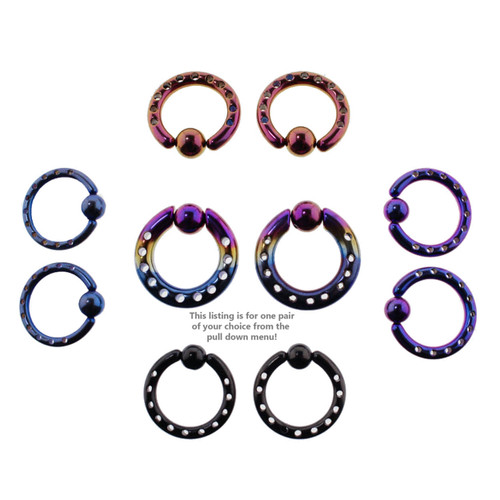 Lex & Lu Pair of Steel Plated Industrial Style Captive Bead Rings-2-Lex & Lu