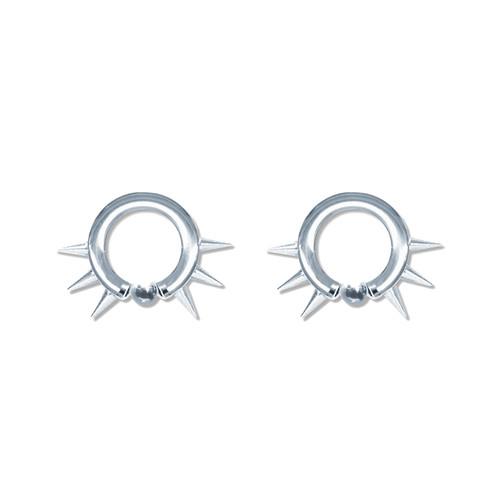 Lex & Lu Pair of Steel Captive Bead Hoop Ring Earrings w/Cones 10-6 Gauge-Lex & Lu