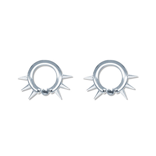 Lex & Lu Pair of Steel Captive Bead Hoop Ring Earrings w/Cones 10-6 Gauge-Lex & Lu