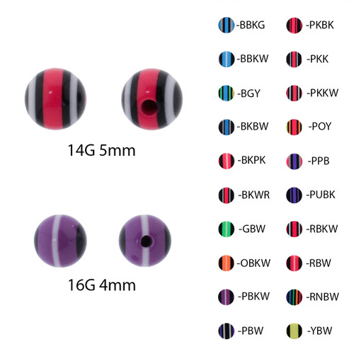 Lex & Lu Pair of Acrylic Neon Layered Threaded Replacement Balls 16&14-Lex & Lu