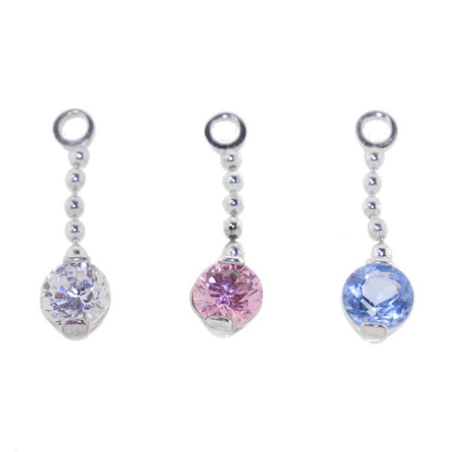 Lex & Lu Add On Round Gem Charm Dangle, Fits 18,16,14,or 12 Gauge-Round Gem 101-Lex & Lu