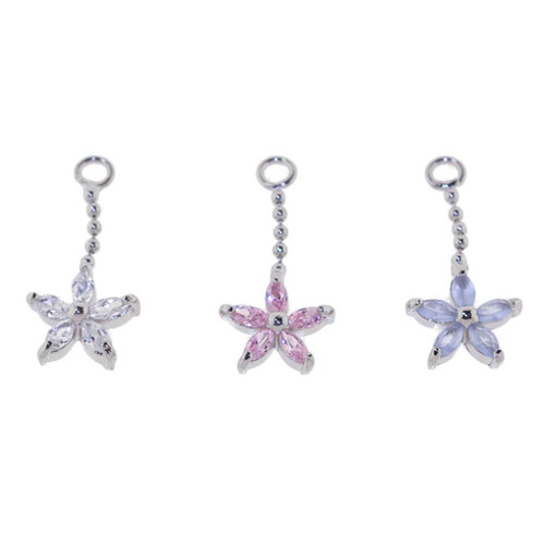 Lex & Lu Add On Flower Gem Charm Dangle, Fits 18,16,14,or 12 Gauge-Flower Gem 102-Lex & Lu