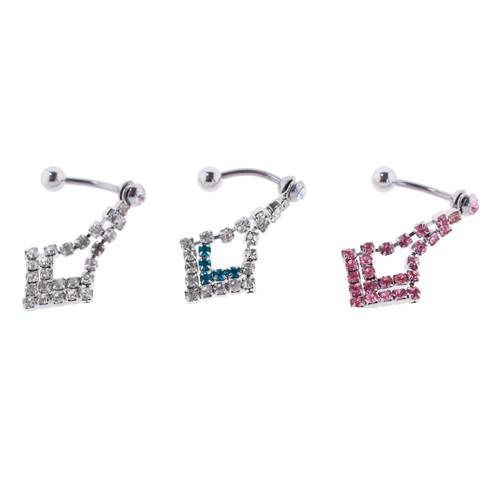 Lex & Lu Steel Gem Navel Belly Button Ring Body Piercing w/CZ Dangle - GNT152-Lex & Lu