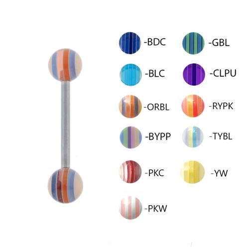 "Lex & Lu Steel Straight Tongue Barbell w/Acrylic Striped Balls 14G 5/8""-Lex & Lu"