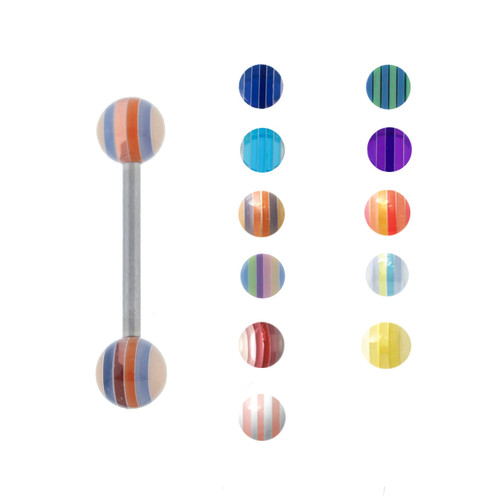 "Lex & Lu Steel Straight Tongue Barbell w/Acrylic Striped Balls 14G 5/8""-Lex & Lu"