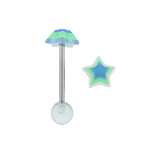 "Lex & Lu Steel Straight Tongue Barbell w/Acrylic Blue Star 14 Gauge 5/8""-Lex & Lu"