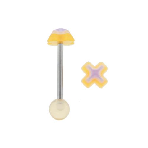 """Lex & Lu Steel Straight Tongue Barbell w/Orange Cross Heart 14 Gauge 5/8""""-Lex & Lu"""